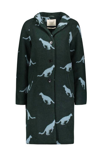 wollen coat met panterprint groen