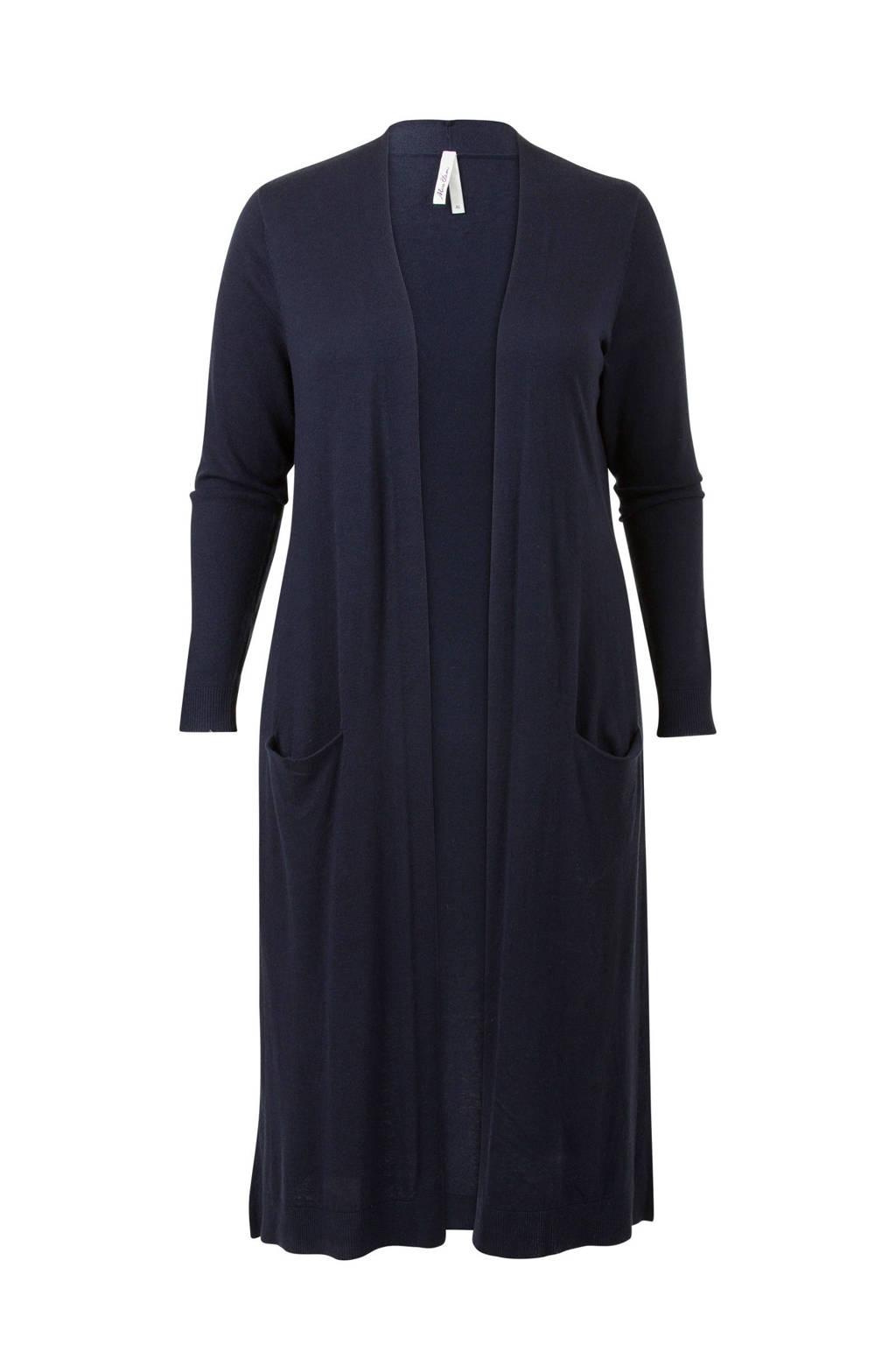 Miss Etam Plus lang vest donkerblauw, Donkerblauw