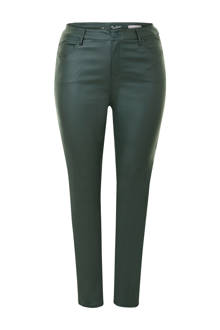 Plus gecoate 5-pocket broek donkergroen