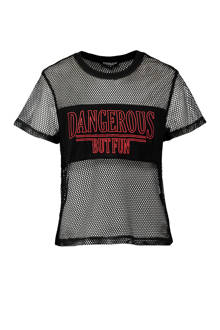 T-shirt met mesh zwart