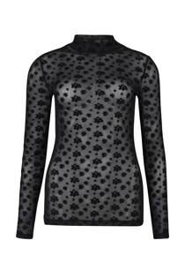WE Fashion top met mesh en velvet zwart (dames)