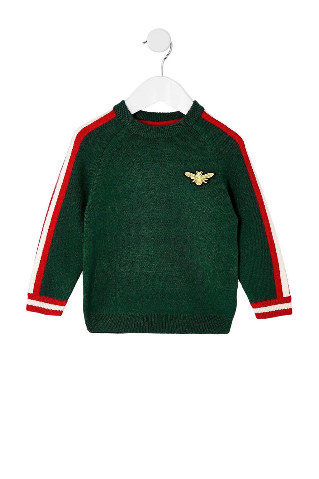 River Island sweater met streep, Groen/Rood/Wit