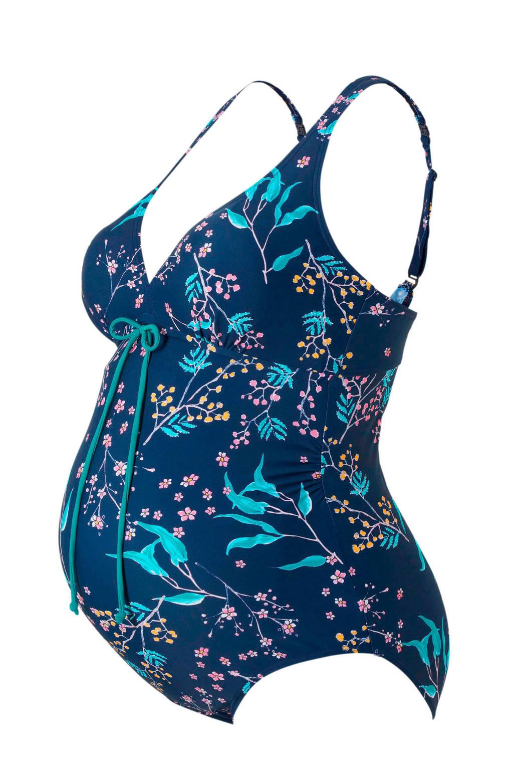 MAMA-LICIOUS positie badpak in een all over print blauw, Blauw/paars