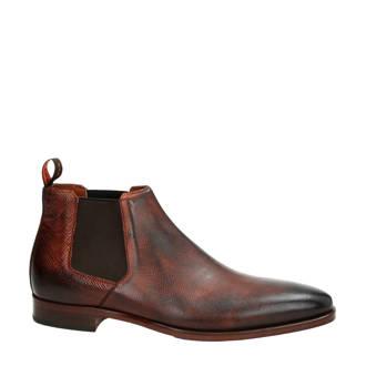 leren chelsea boots met reptielenprint cognac