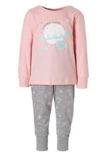 Palomino pyjama met print roze/grijs