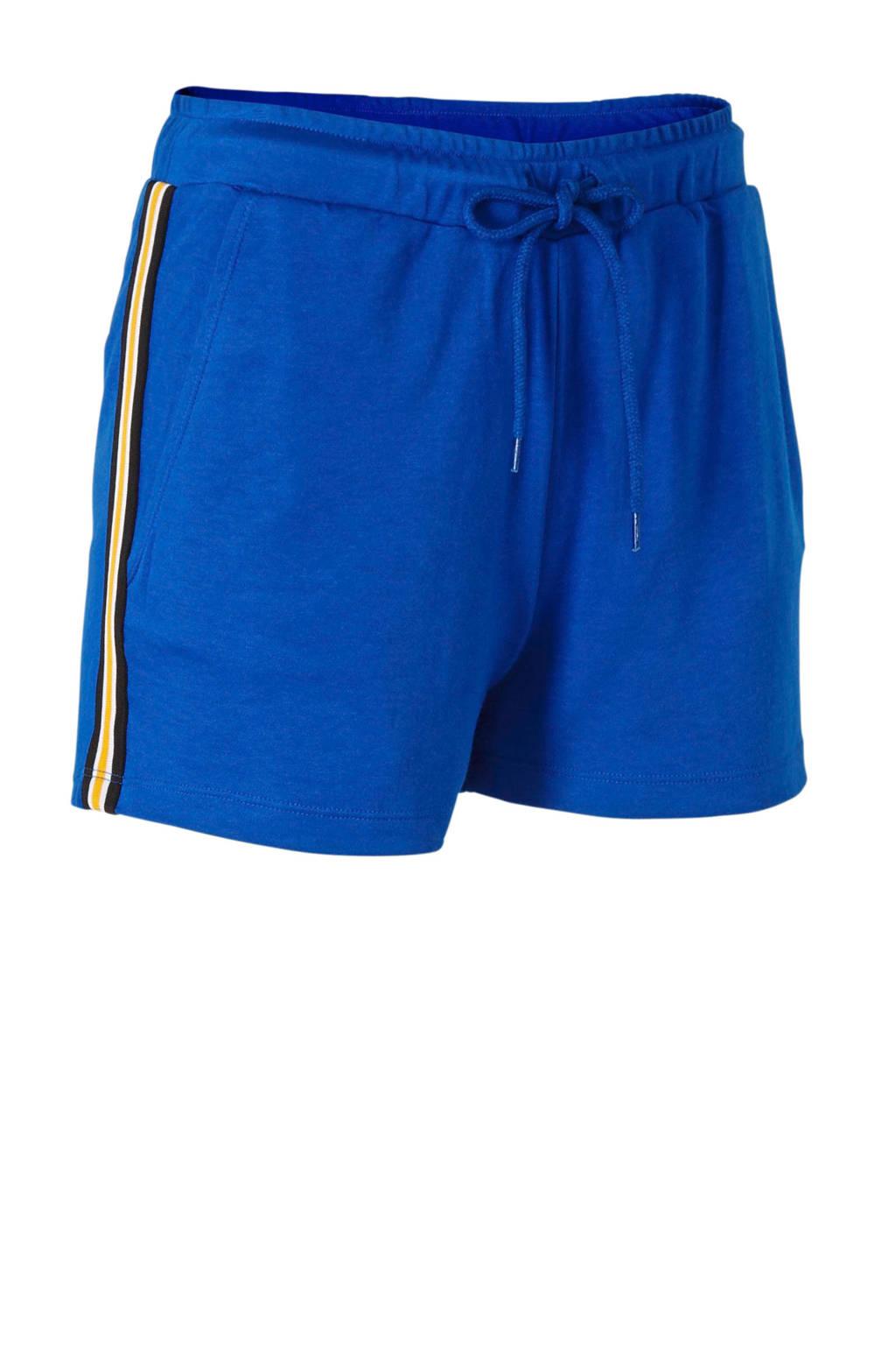 whkmp's beachwave loose fit sweatshort met zijstreep blauw, Blauw