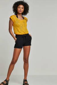 whkmp's beachwave semi-transparant T-shirt met contrastbies okergeel, Okergeel