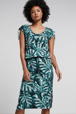 jersey jurk met bladprint groen