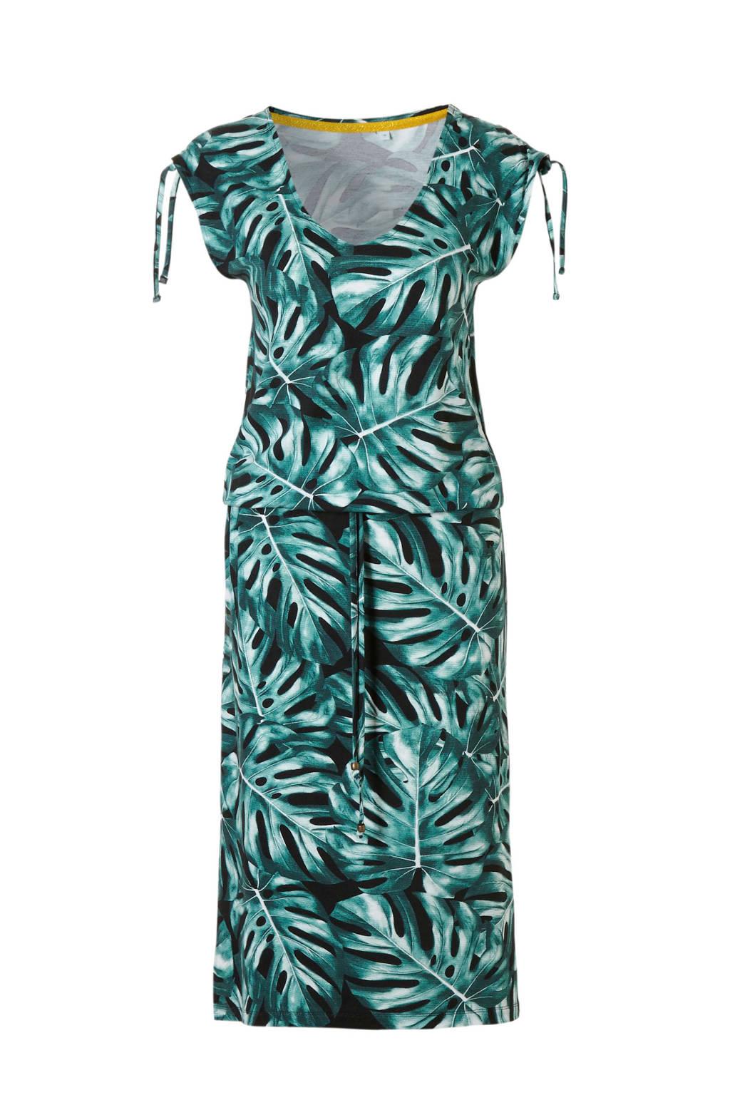 whkmp's beachwave viscose jurk met bladprint, Groen