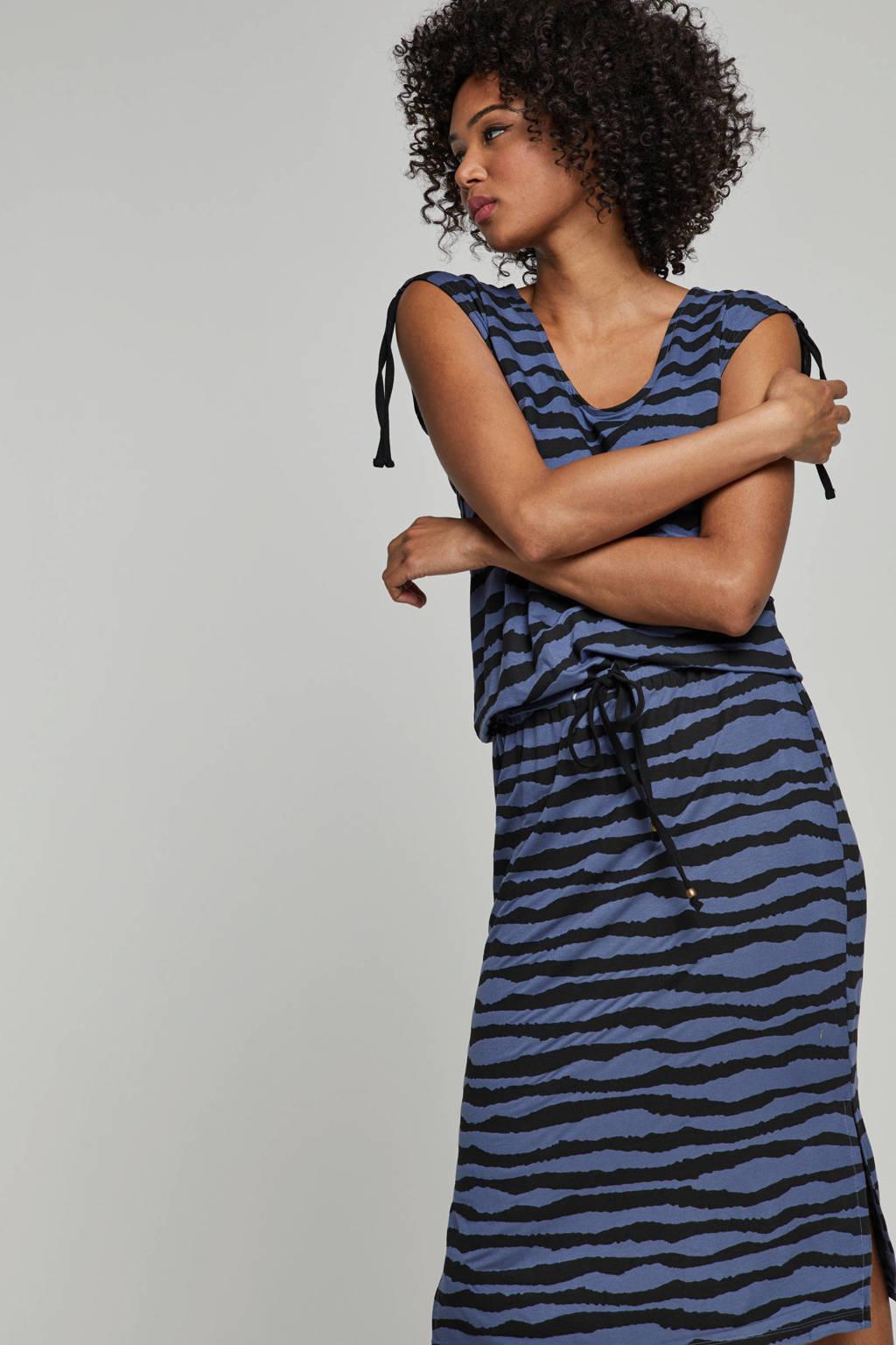 whkmp's beachwave viscose jurk met zebraprint, Zwart/blauw