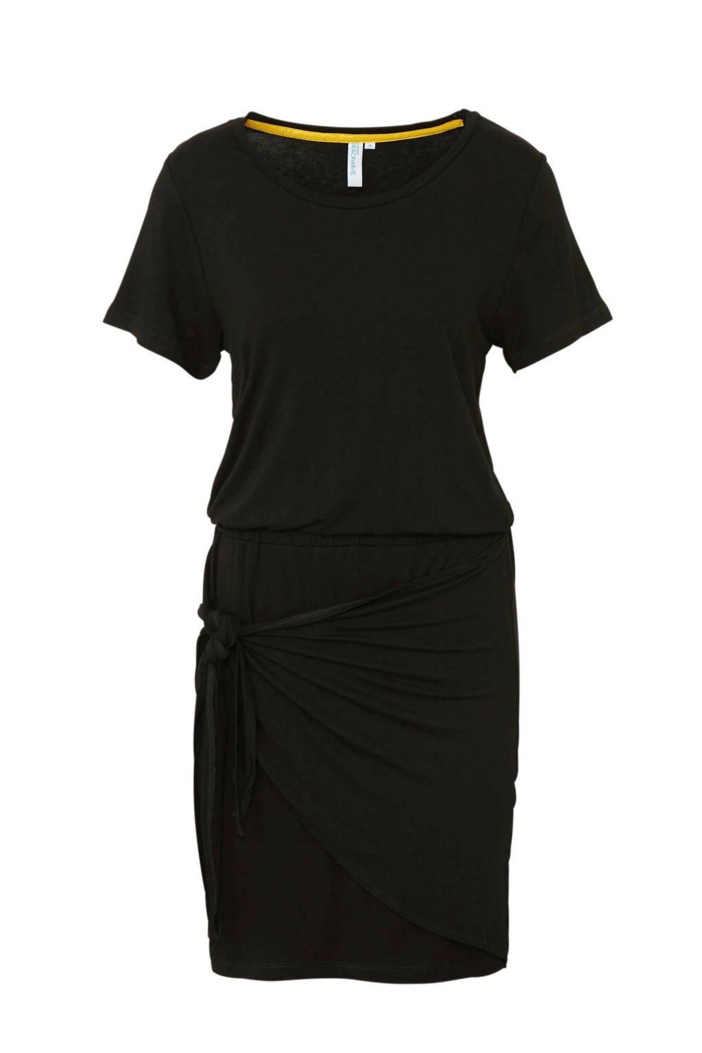whkmp's beachwave jurk met strikdetail zwart, Zwart