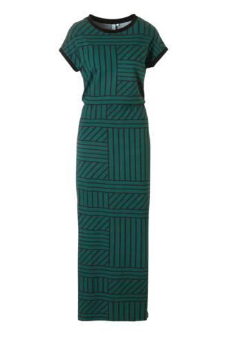jersey maxi-jurk met grafische print