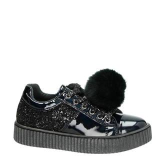 imitatieleren sneakers zwart