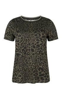 WE Fashion T-shirt met panterprint donkergroen