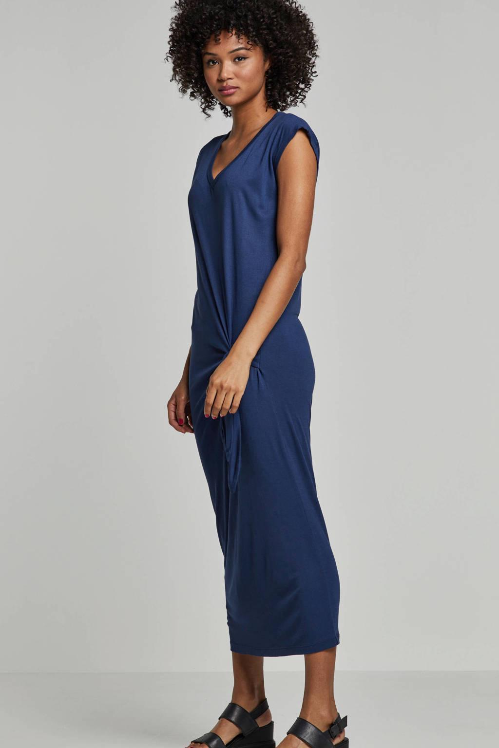 whkmp's beachwave viscose jurk met knoop detail, Donkerblauw