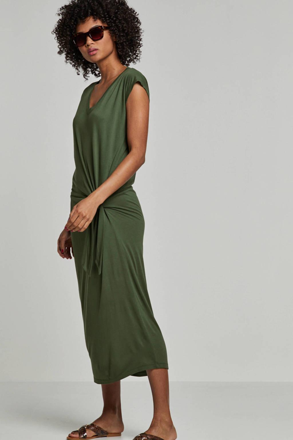 whkmp's beachwave viscose jurk met knoop detail, Groen