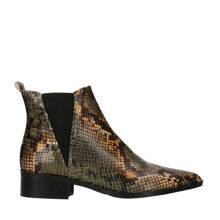 leren chelsea boots met slangenprint groen