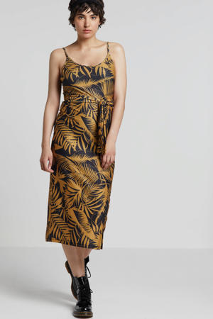 jurk met bladprint zwart/oker