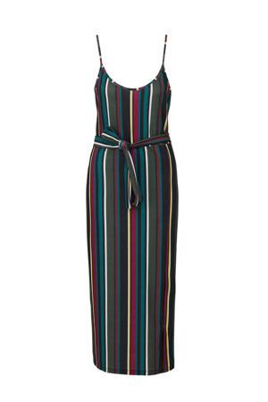 gestreepte jurk groen/ paars/ geel/ wit