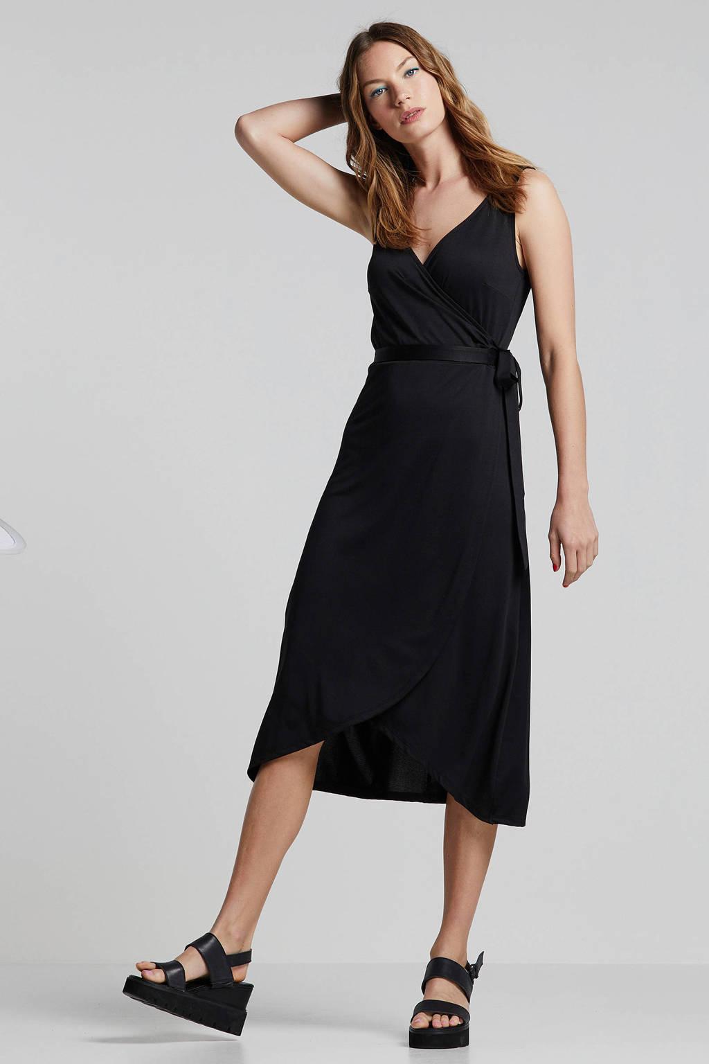 whkmp's beachwave wikkel-look jurk, Zwart