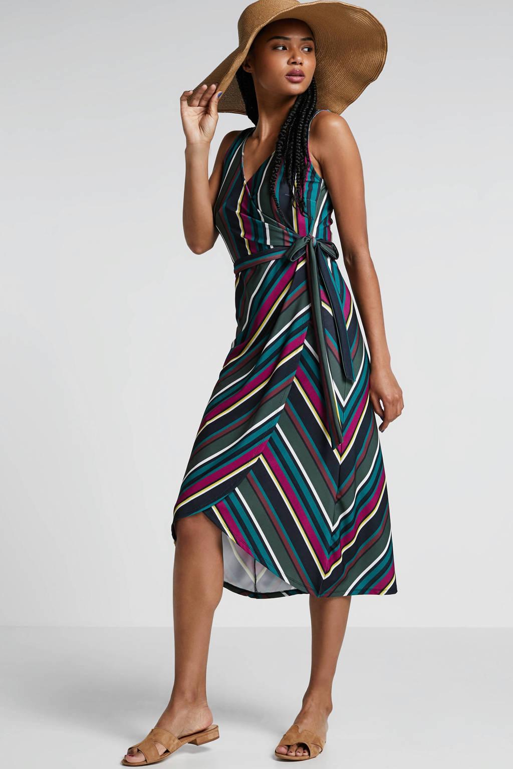 whkmp's beachwave wikkel-look jurk met streepprint, Donkergoen/roze