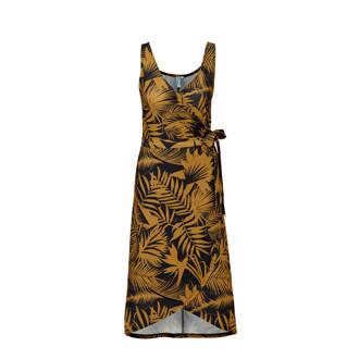 wikkel-look jurk met bladprint