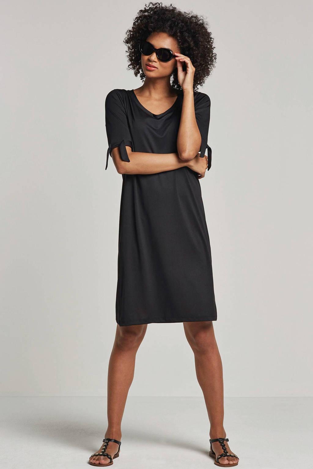 whkmp's beachwave jersey jurk zwart, Zwart