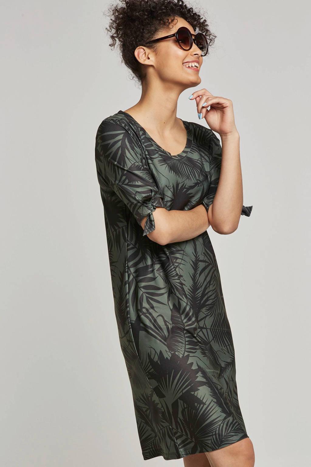 whkmp's beachwave jurk met palmprint, Groen/zwart