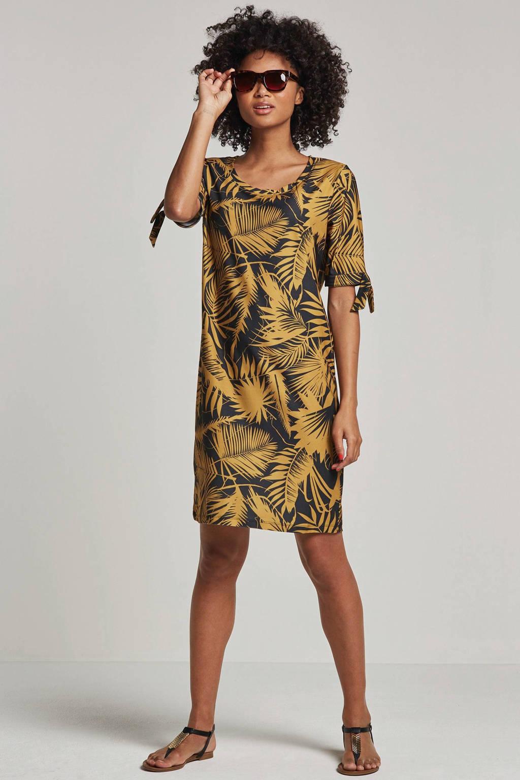 whkmp's beachwave jurk met palmprint, okergeel/zwart