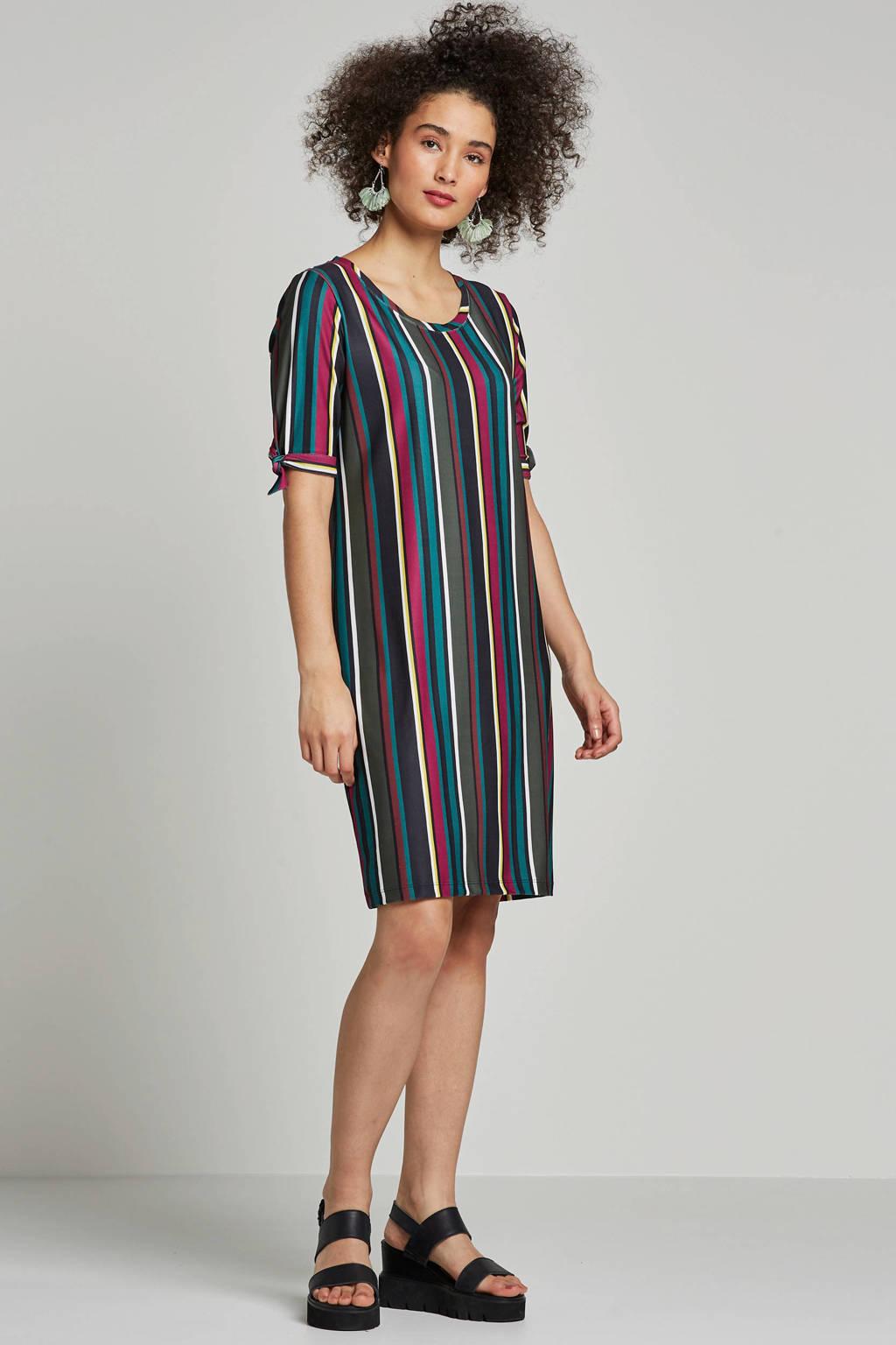 whkmp's beachwave jurk met streepprint, Groen/zwart/roze