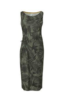 jurk met overslag en bladprint