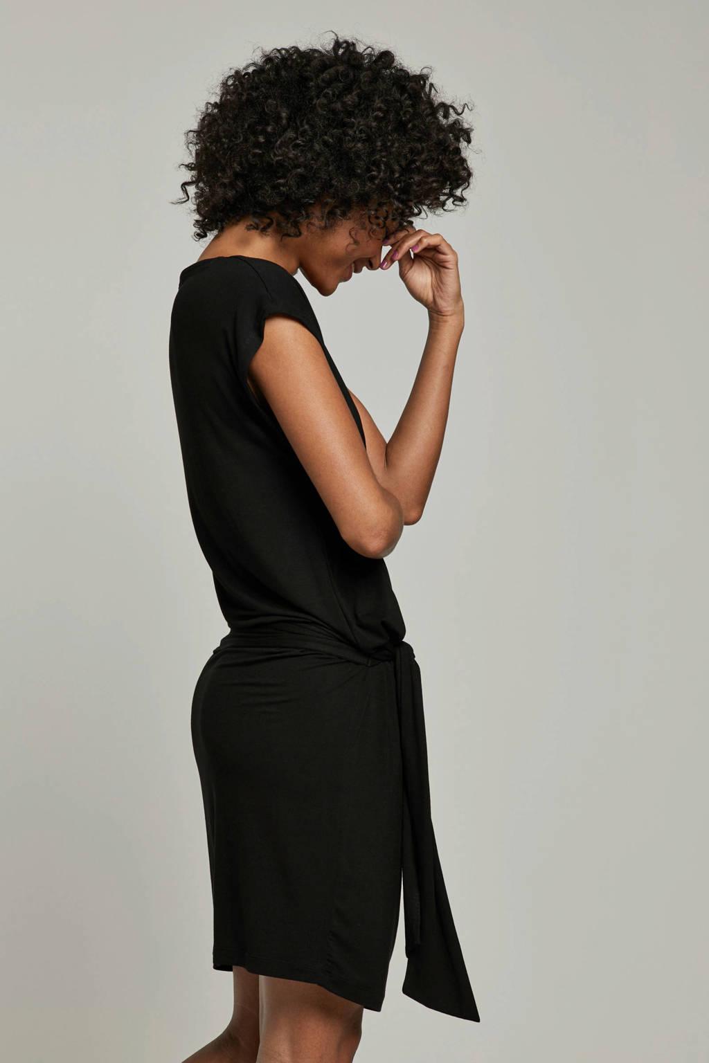 whkmp's beachwave jurk met ceintuur detail, Zwart