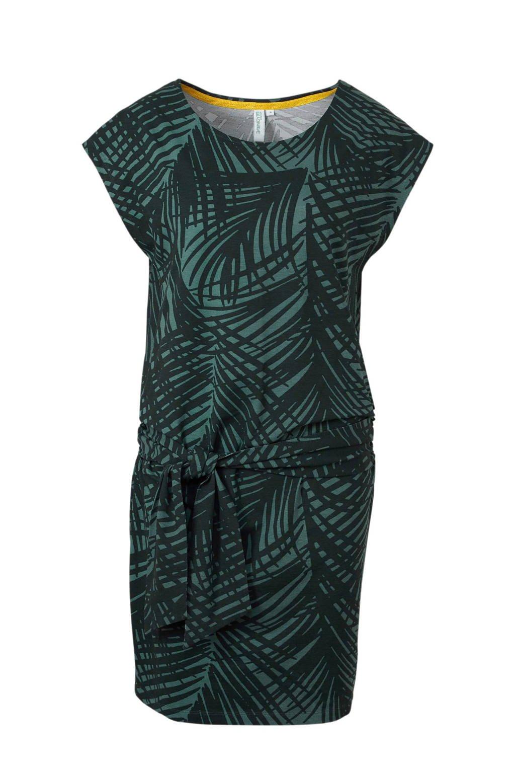 whkmp's beachwave jurk met ceintuur detail en bladprint, Groen/donkergroen