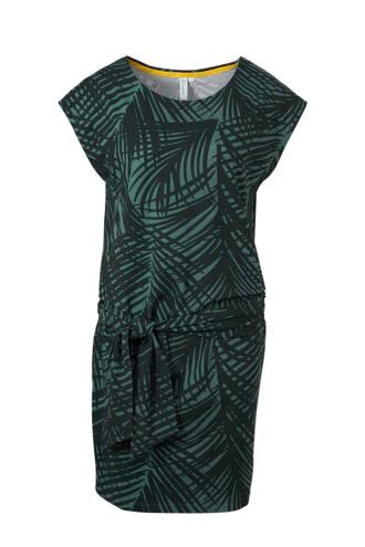 jurk met ceintuur detail en bladprint