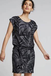 whkmp's beachwave jersey strandjurk met bladprint grijs/zwart, Grijs/zwart