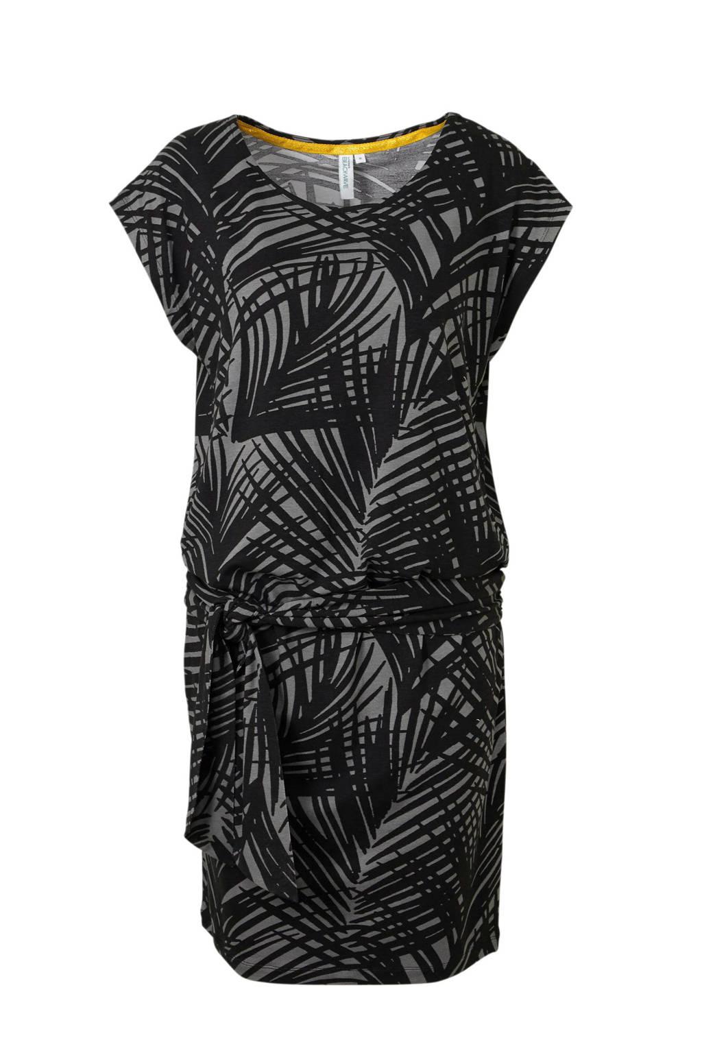 whkmp's beachwave jurk met ceintuur detail en bladprint, Grijs/zwart