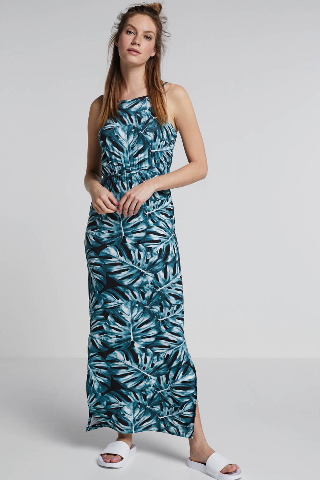 whkmp's beachwave maxi-jurk met bladprint, Groen/zwart
