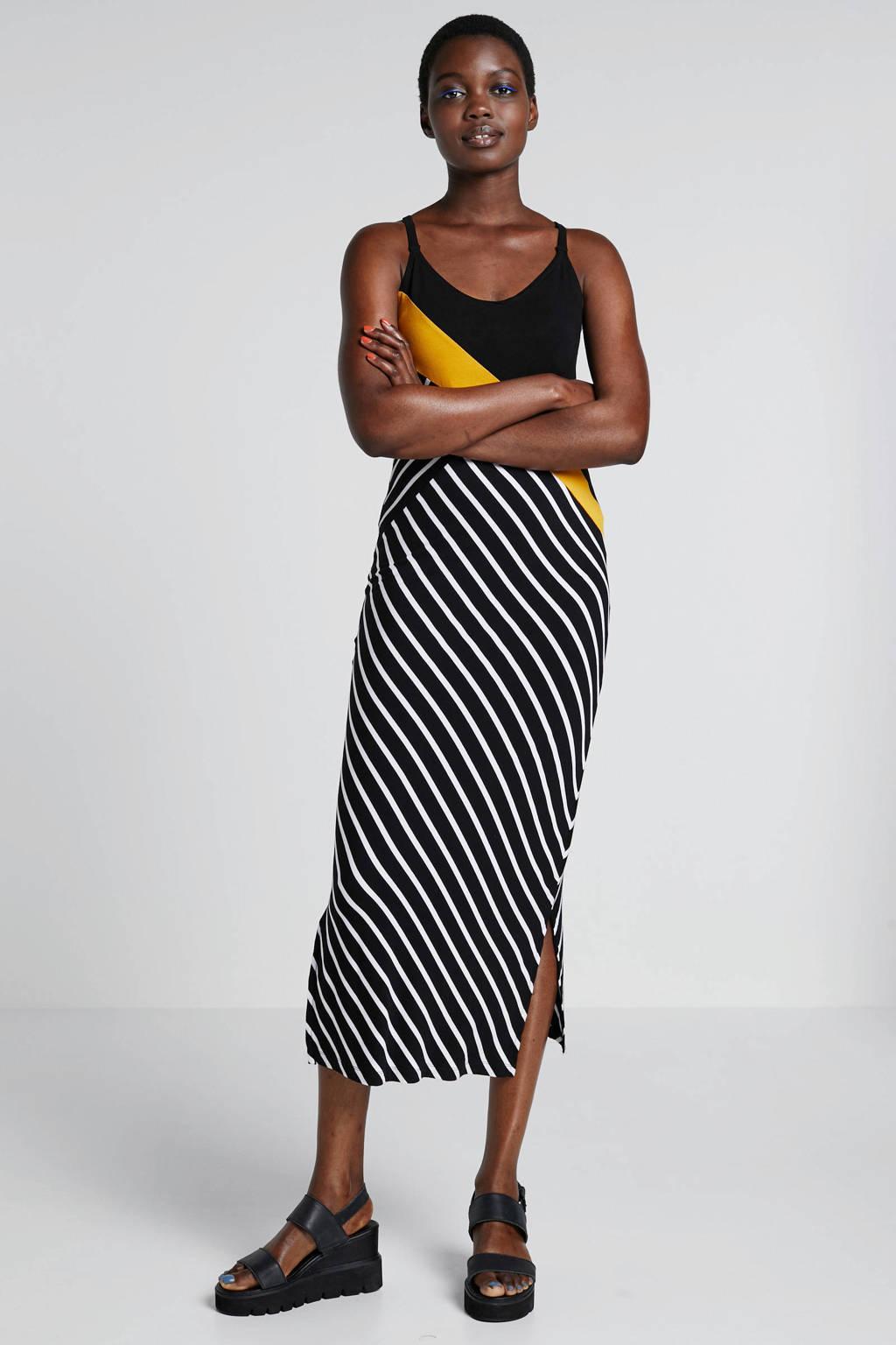 whkmp's beachwave gestreepte jersey jurk zwart/ecru/geel, Zwart/ecru/geel