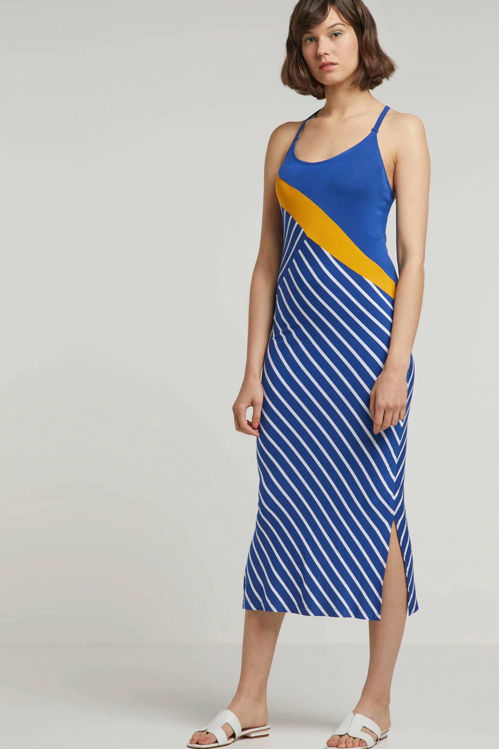 whkmp's beachwave jurk met diagonale streepprint, blauw/ecru/geel