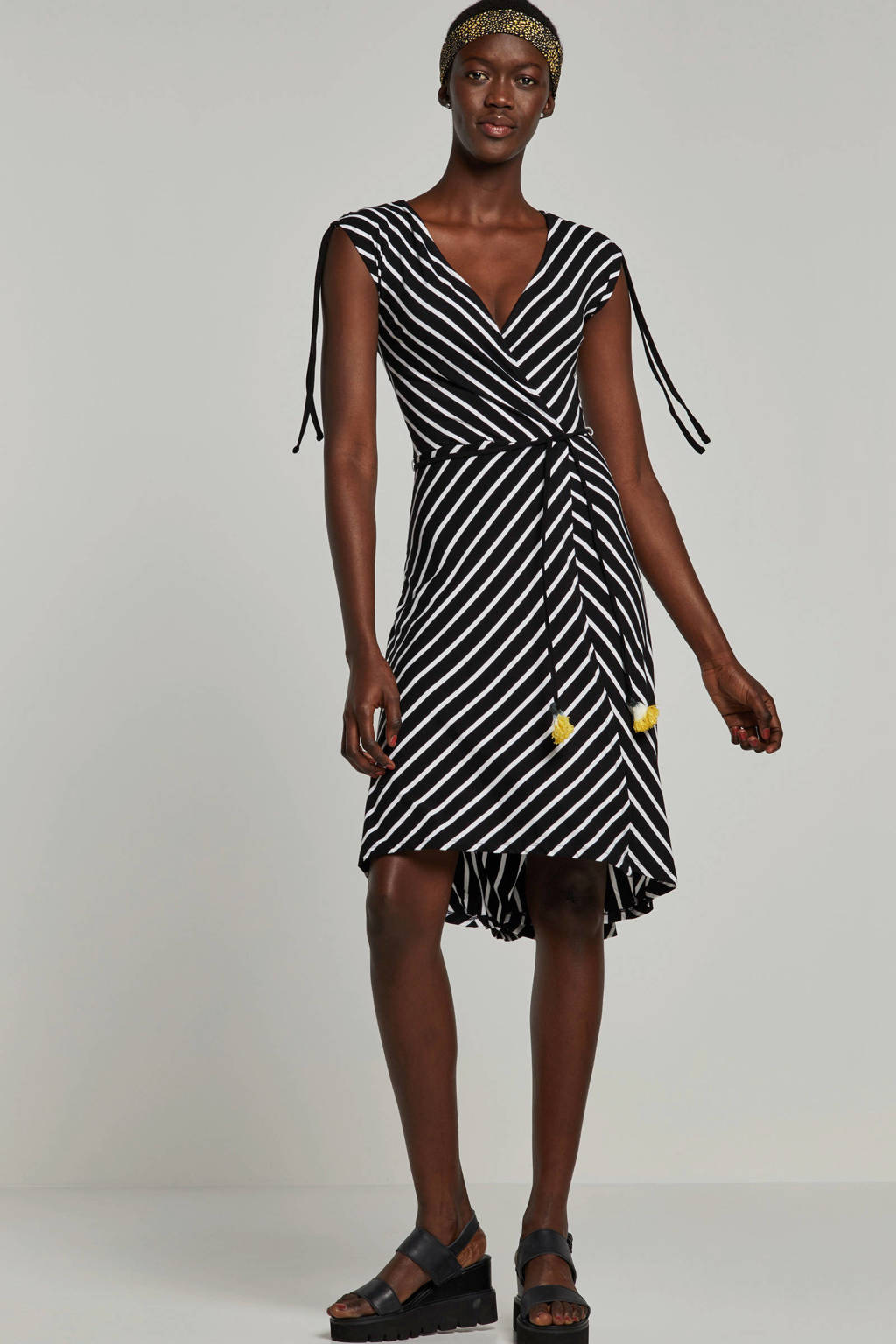 whkmp's beachwave wikkel-look jurk, Zwart/wit