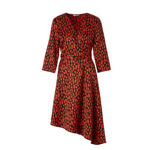 Pieces overslag jurk met luipaardprint