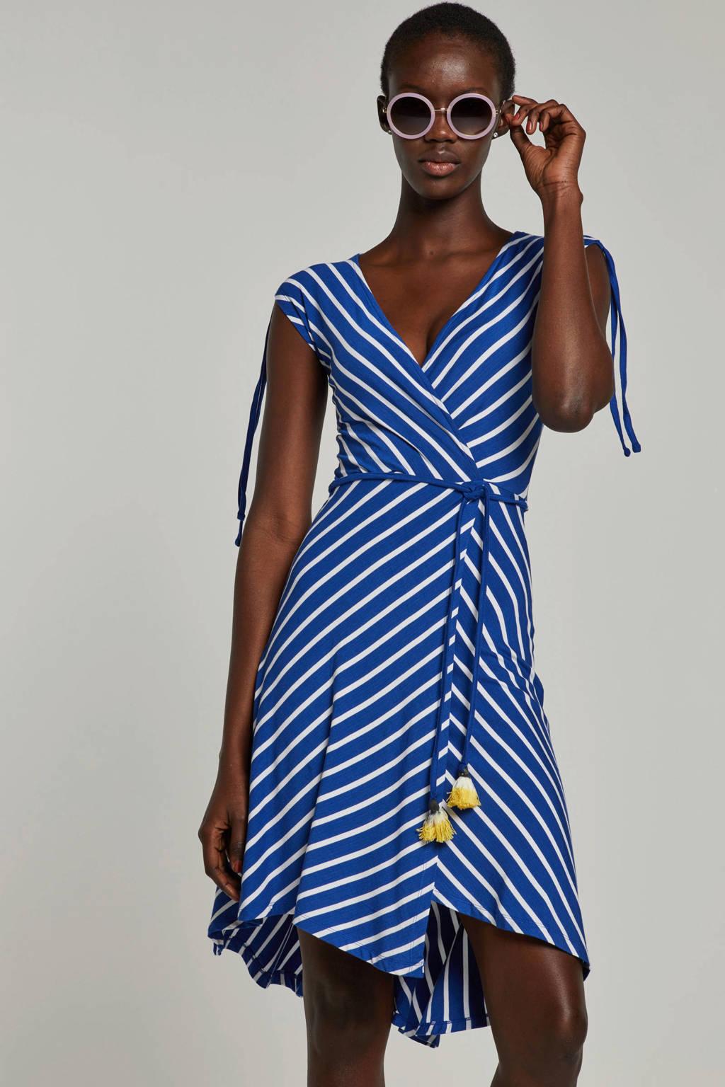 whkmp's beachwave wikkel-look jurk, Blauw/wit