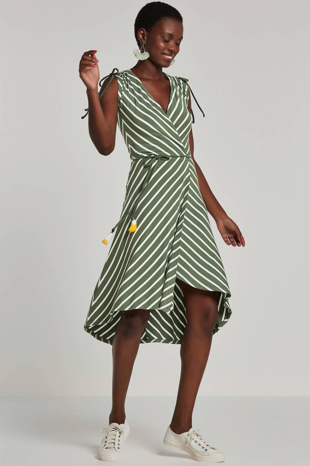 whkmp's beachwave wikkel-look jurk, Kakigroen/wit