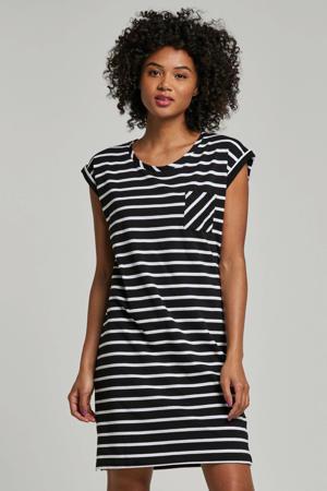 gestreepte jersey jurk zwart/wit