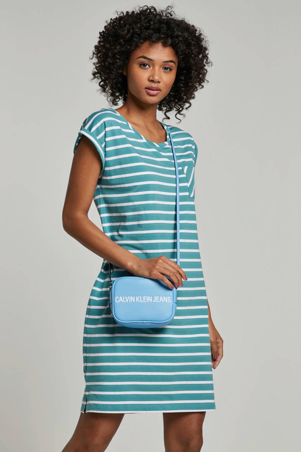 whkmp's beachwave katoenen jurk met streep, Lichtgroen/wit