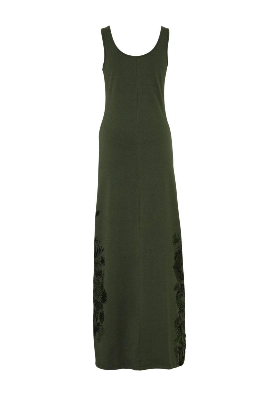 whkmp's beachwave katoenen jurk met bladprint, Donkergroen