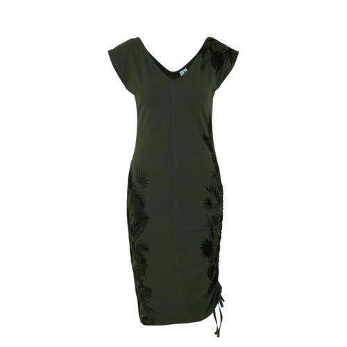 whkmp's beachwave katoenen jurk met bladprint