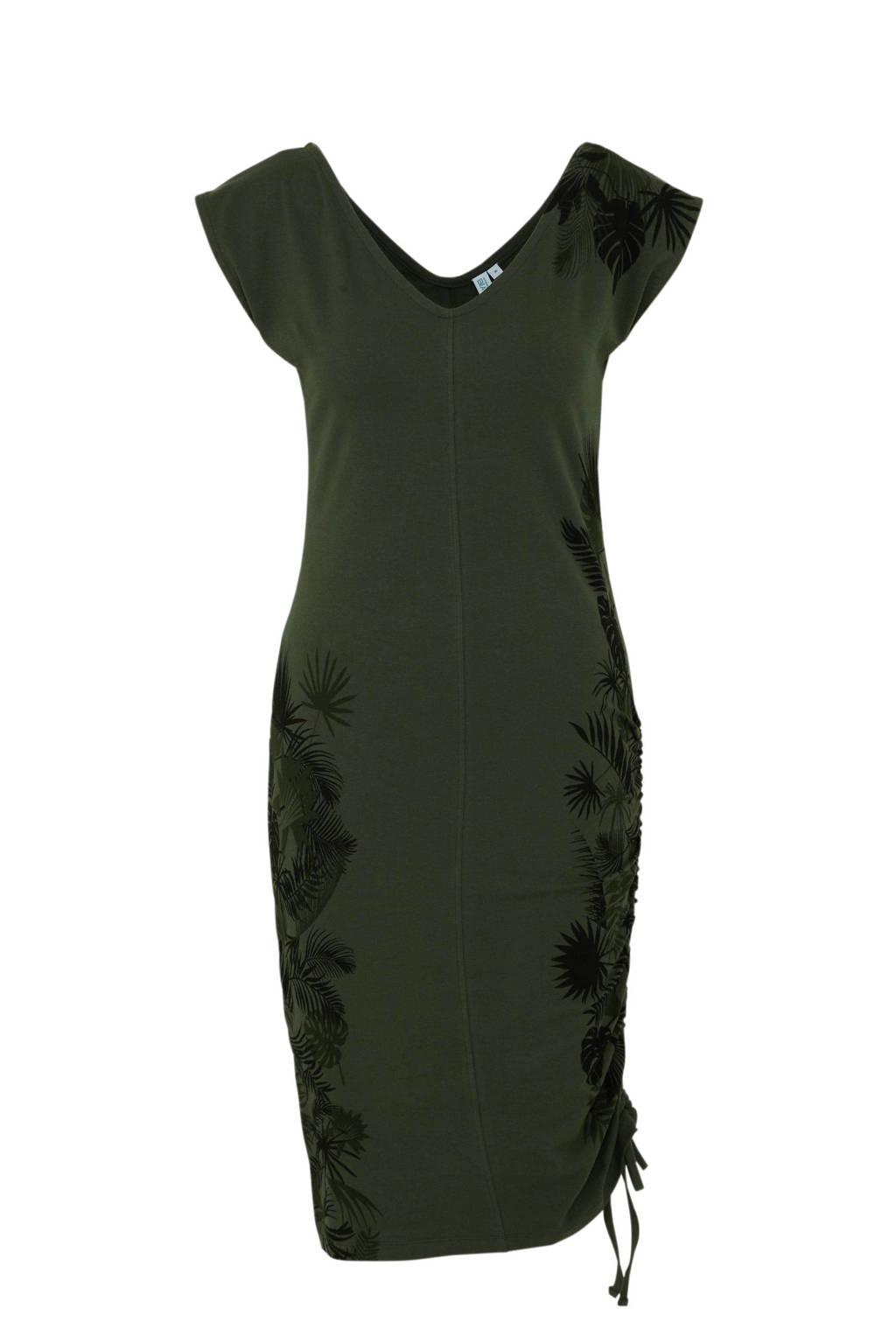 whkmp's beachwave jersey jurk met bladprint donkergroen, Donkergroen