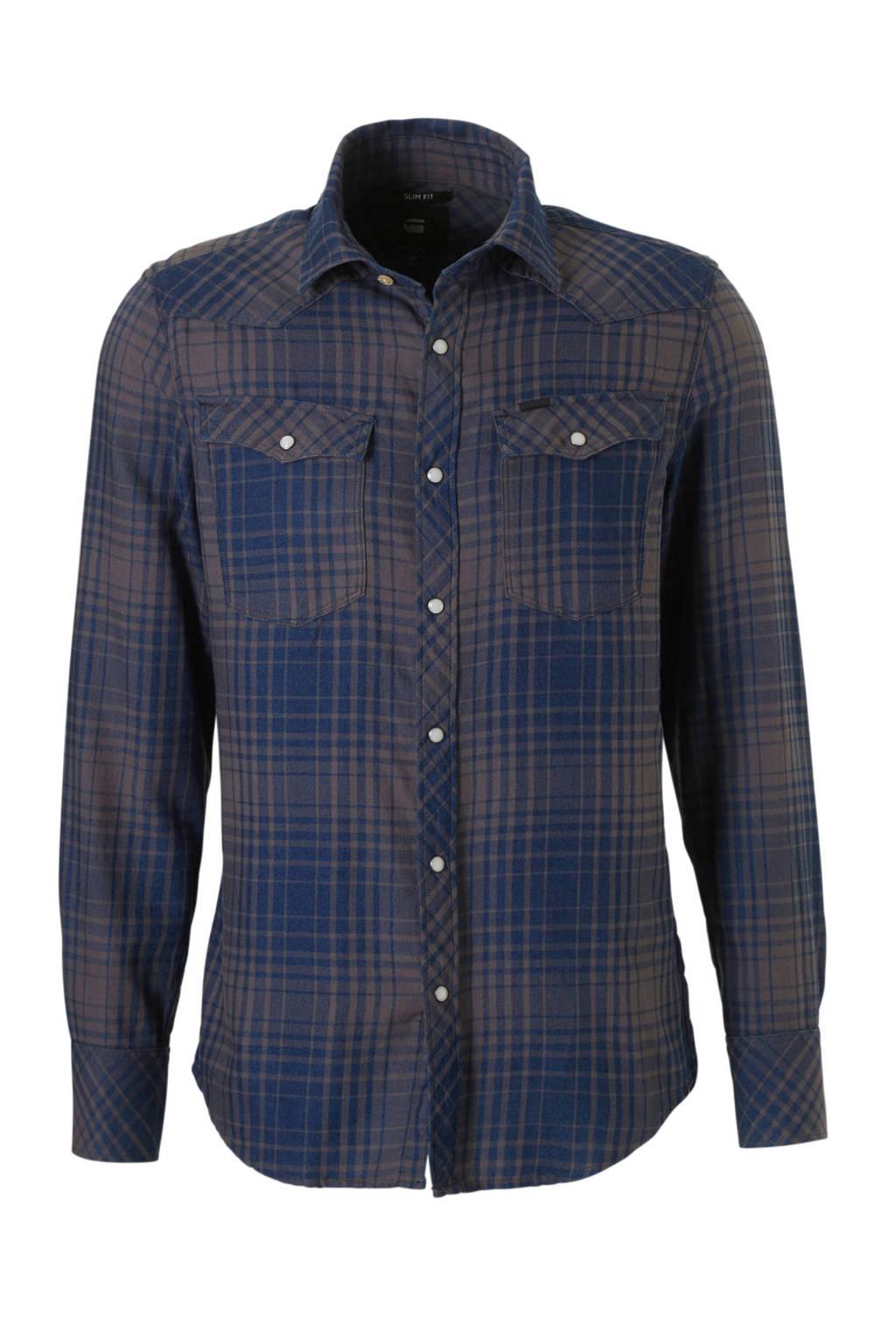 G-Star RAW slim fit overhemd, Blauw/grijs