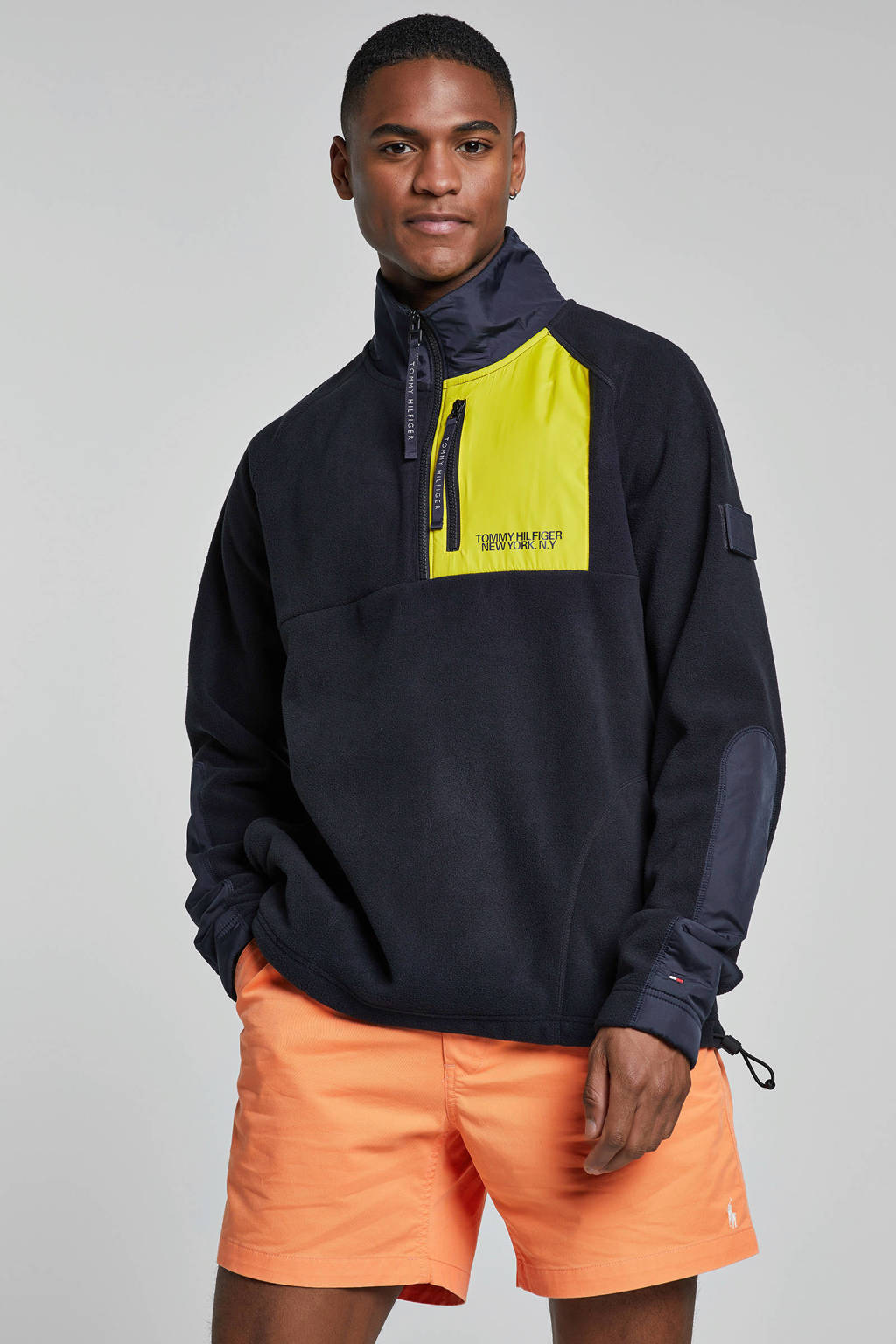 Tommy Hilfiger trui donkerblauw, Donkerblauw/geel